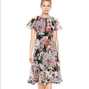 Gabby Skye Winter Florals Cold Shoulder Dress 12